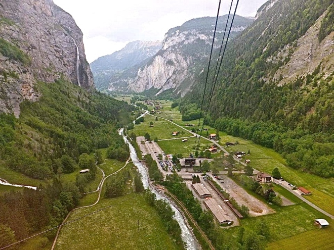 Riding the gondola up to Gimmelwald