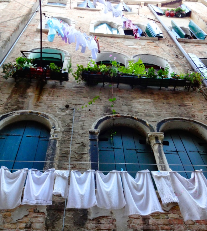 Clothes hanging on the line in Venice