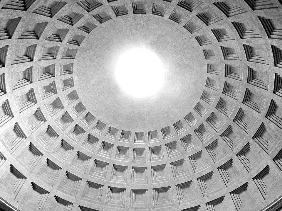 Ceiling of the Pantheon in Rome, Italy