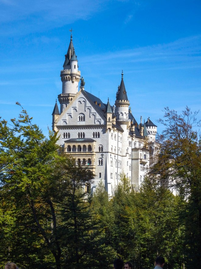 View of the back of Neuschwanstein Castle in Germany