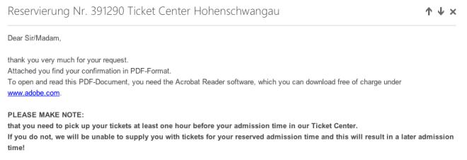 Neuschwanstein Reservation Email