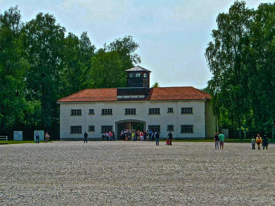Dachau concentration camp main entrance from inside